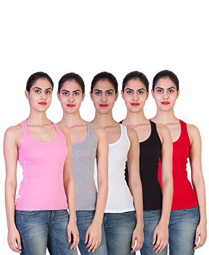 2DAY Womens Stylish, Comfy Tank top Baby Pink/Grey/White/Black/Red (Pack of 5)