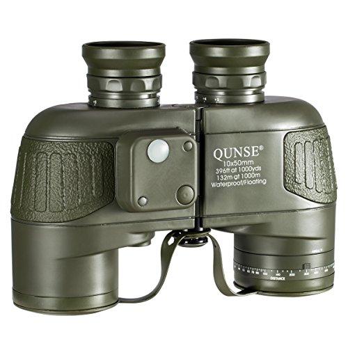 QUNSE-militrisches-nautisches-Fernglas-mit-Kompass-Entfernungsmessen-mit-dem-Kompass-10x50-groes-Objektiv-fr-weites-Feld-BAK4-Wasserdicht-und-Antibeschlag-mitgelieferte-Schultergurte