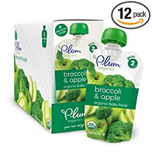 Plum Organics Baby Second Blends, Broccoli and Apple, 4.0-Ounce Pouches (Pack of 12)