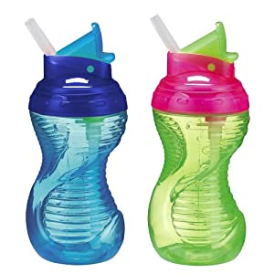 Munchkin Mighty Grip Flip Straw Cups 2-Pack, 10- Ounce (Colors Vary)