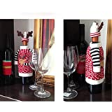 Alcoa Prime Newest 2pcs/Set Christmas Decoration Red Wine Bottle Cover Decorations For Home Ornament Indoor Decoration...