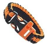 Orange and Black Whistle Paracord Survival Bracelet, 9 Inches