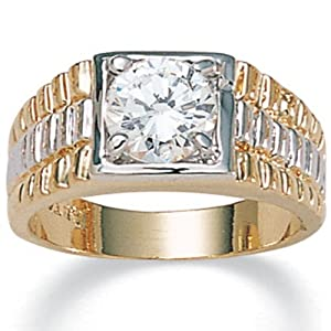 PalmBeach Jewelry Men's 2-Carat Round Cubic Zirconia 14k Yellow Gold-Plated Two-Tone Ribbed Ring