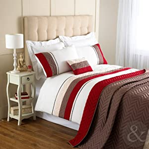 MODERN STRIPED DUVET COVER Poly Cotton Bedding Embroidered Quilt Cover Bed Set Red ( claret chocolate brown beige ) King Size Duvet Cover ( kingsize chevron