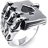 KONOV Jewelry Mens Stainless Steel Ring, Gothic Skull Hand Claw Poker Playing Card, Black Silver