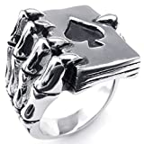 KONOV Jewelry Mens Stainless Steel Ring, Gothic Skull Hand Claw Poker Playing Card, Black Silver, Size 8