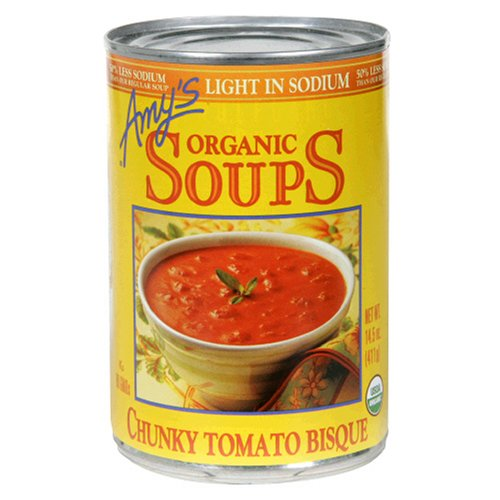 Amy's Organic Light In Sodium, Chunky Tomato Bisque, 14.5-Ounce Cans (Pack of 12)