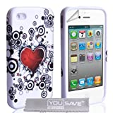 iPhone 4 / 4S White And Red Heart Silicone Caseby Yousave Accessories