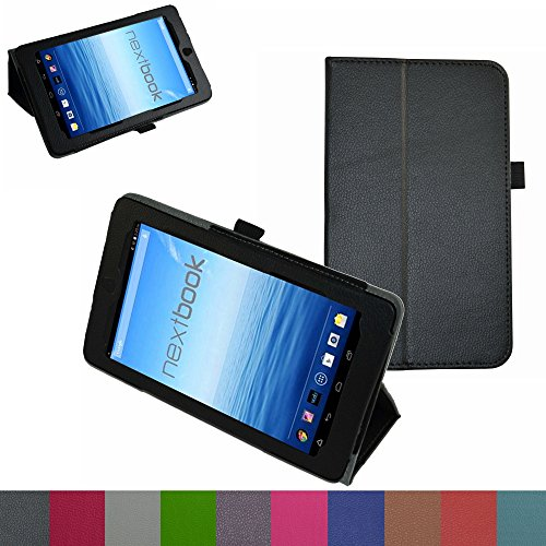Mama Access Slim Folio 2-folding Stand Chest Cover for 7 Nextbook 7 NX700QC16G Android Tablet 2014 Present Black