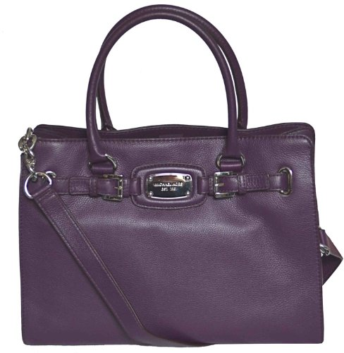 Michael Kors Purple Leather Hamilton Large EW Tote Handbag Shoulder Bag
