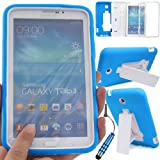 GLITZY GIZMOS TURQUOISE / LIGHT BLUE SHOCK PROOF BUILDERS HEAVY DUTY TOUGH CASE COVER FOR SAMSUNG GALAXY TAB 3 7.0 inch (P3200 / P3210 / SM-T210 / SM-T211 / SM-T215) LTE WIFI 7