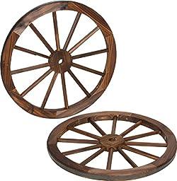 Decorative Vintage Wood Garden Wagon Wheel With Steel Rim - 24\