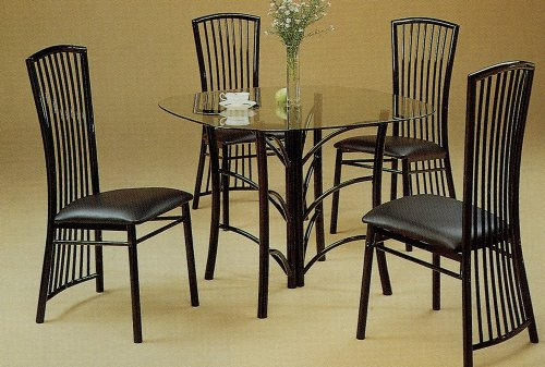 Cheap 5pc Modern Black Metal Glass Top Dining Room Table Chairs Set (VF_dinset-2846-2918)