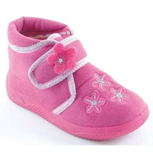 Little Girls Floral Patterned Slippers With Velcro Strap