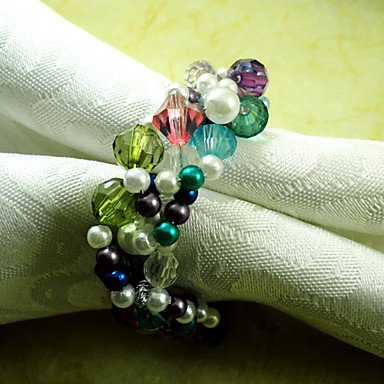 Ceiling light¡¯s Multi-color Pearl Beads Weaved Wedding Napkin Ring Set of 6, Dia 4.5cm environmentally friendly pvc inflatable shell water floating row of a variety of swimming pearl shell swimming ring