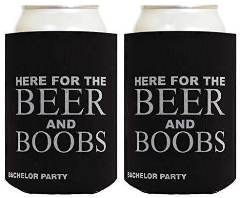 Funny Beer Coolie Bachelor Party Here for Beer and Boobs Gag Gift Wedding Party 2 Pack Can Coolie Drink Coolers Coolies Charcoal