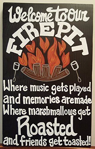 """""""New"""" Large Welcome To Our Firepit 18"""" & 24"""" Wood Sign"""