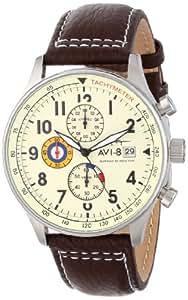 "AVI-8 Men's AV-4011-04 ""Hawker Hurricane"" Stainless Steel Watch with Leather Band"