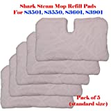 "Standard Size (12.5"" X 7.5"") Steam Mop Replacement Pocket Pads for Erop-pro Shark S3501 S3601 S3901 Se450 (5, Standard 12.5"" x 7.5"")"