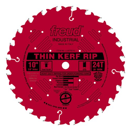 Freud LU87R010 10-Inch 24-Tooth FTG Thin Kerf Ripping Saw Blade with 5/8-Inch Arbor and PermaShield Coating