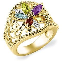 18k Gold Overlay Sterling Silver Multi-Gemstone Floral Ring
