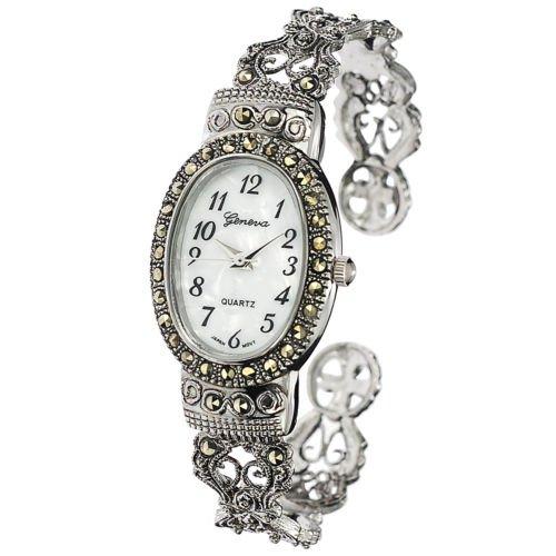 New Watches Geneva Platinum Marcasite Oval Face Women's Watch (Geneva Platinum Women Watches compare prices)