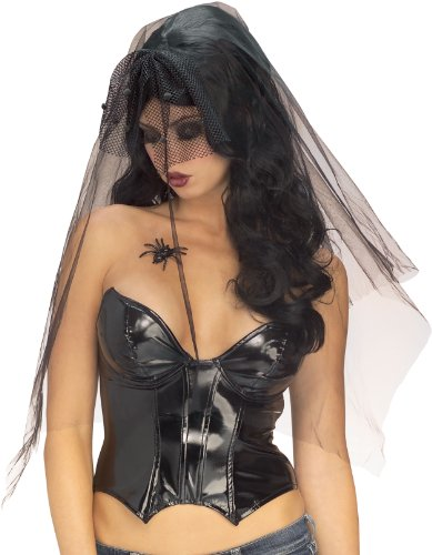 Rubie's Costume Long Gothic Widow Wig, Black, One Size - 1