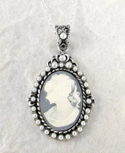 Sterling Silver Blue Cameo and Pearlized Beads Frame Pendant Necklace, 16-18