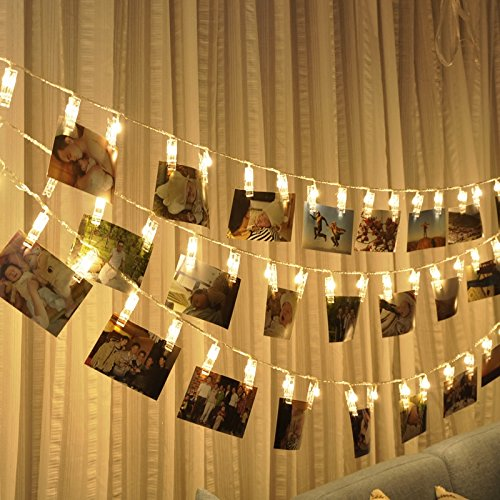 20 LED Photo Clips String Lights Christmas Lights Starry light Wall Decoration Light for Hanging Photos Paintings Pictures Card and Memos, 16.4 feet, Battery Powered, Warm White (Pictures Of Cool Thin compare prices)