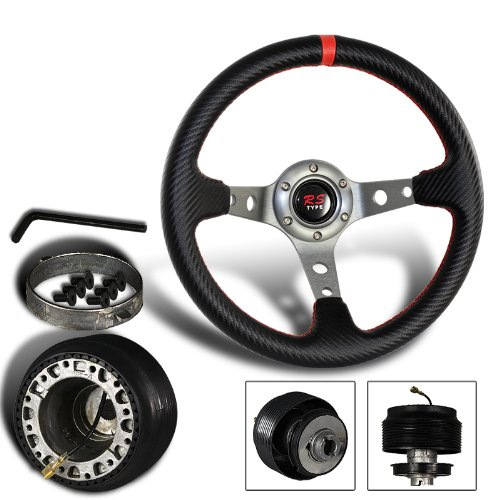 320mm 6 Hole Carbon Fiber Style PVC Leather Red Stitching Steering Wheel + Mazda Hub Adapter (Mazda 323 Steering Wheel compare prices)