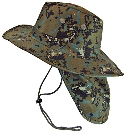 Boonie Bush Safari Outdoor Fishing Hiking Hunting Boating Snap Brim Hat Sun Cap with Neck Flap (Digital Woodland Camo, L)