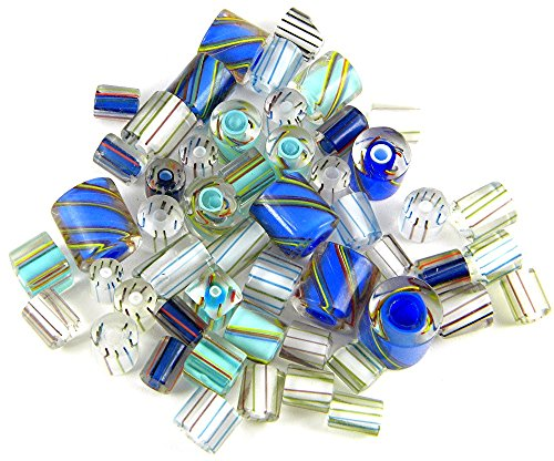 1/4 Pound of Gorgeous Furnace Cane Glass Beads for Jewelry Making TVT-Cool-Blue (The Glass Furnace compare prices)