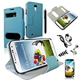 SQdeal® Book-Style PU leather Folio Case Flip Cover w/ Front Hollow and Stand for Samsung Galaxy S4 SIV i9500 with Screen Protector / Stylus Pen / Dust Plug / Earphone / Cable winder - Blue