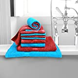 Bombay Dyeing Cotton 10 Piece Towel Set - Sea Blue and Burgundy