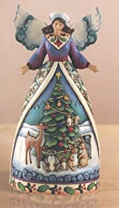 "Jim Shore Angel With Woodland Animals Figurine ""Christmas For All Great And Small"" 4007932"