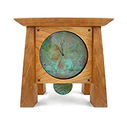 Prairie Style Mantel/Shelf Clock With Copper Face and Pendulum, Handcrafted Cherry Wood, 12