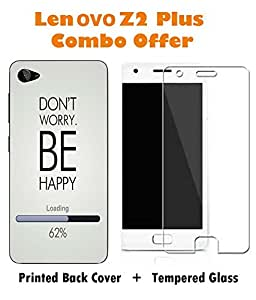 Lenovo Z2 Plus Slogan Printed Multicolor Hard Back Cover with Premium Tempered Glass Combo By Case Cover