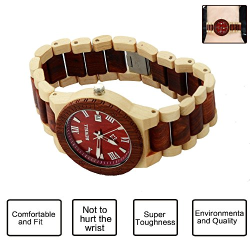 Ideashop Men's White and Red Wood Watches Quartz Retro Antique Wood Wristwatch with Date Function Unique Gift 2
