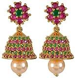 Violet & Purple Gold Alloy Jhumki Earrings for Women (1000029587)