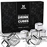 Whiskey Stones Luxury Gift Set - Stainless Steel - Reusable Ice Cubes with Barman Tongs and Freezer Tray | by Southern Chill