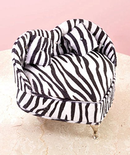Zebra Animal Print Heart Shape Chair Accessories Jewelry Box front-67956