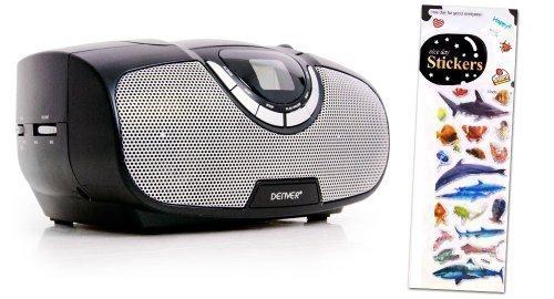 Tragbarer CD-Player MP3 Kinder Stereoanlage Radio Boombox schwarz + Tiermotiv Sticker