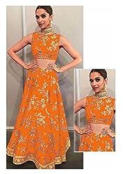 Sanjana orange banglori silk semi stitched bridal lehenga choli