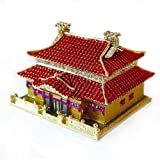 Chinese Palace Box Swarovski Crystals 24K Gold Jewelry, Keepsake or Pill Box Figurine