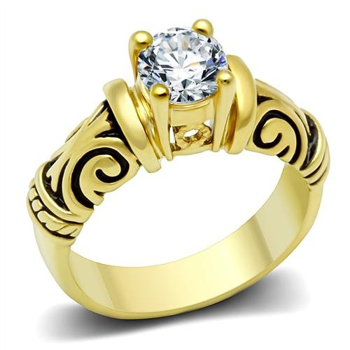 Round Solitaire 1.5 Carat Simulated White Diamond CZ & Tribal Celtic Design Engagement Ring, Hypoallergenic Antiqued Yellow Gold Stainless Steel Band, Size 7