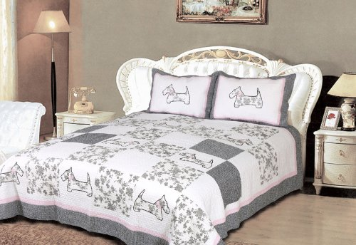 [Yorkshire Terrier] 100% Cotton 2PC Classic Floral Vermicelli-Quilted Patchwork Quilt Set (Twin Size)