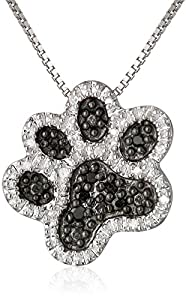 """Sterling Silver Black and White Diamond Dog Paw Pendant Necklace (1/10 cttw), 18"""""""