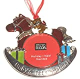 Rocking Horse Baby's First Christmas Ornament Photo Frame Enamel Metal