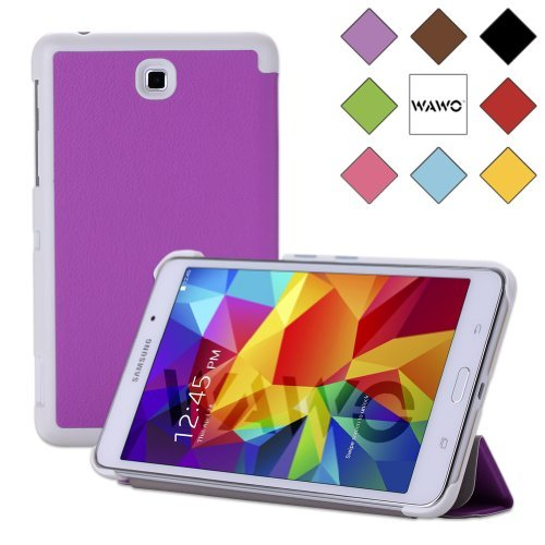 Wawo Creative Tri-Fold Cover Case For Samsung Galaxy Tab 4 7.0 Inch Tablet - Purple front-1059638