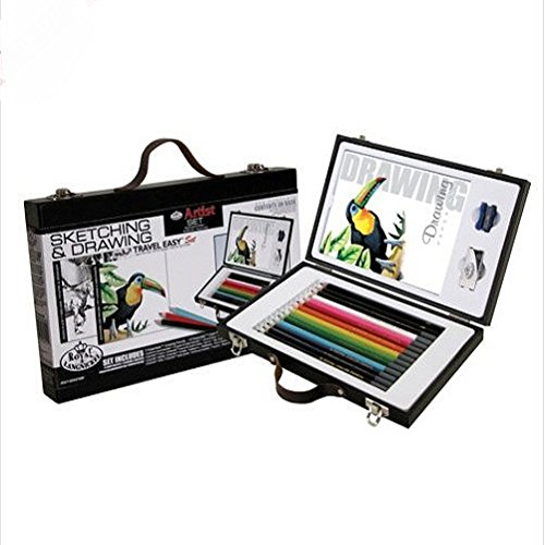 great-gift-artist-sketching-drawing-travel-box-set-14-colour-graphite-pencils-pad-arts-crafts-paper-